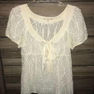 Nanette Lepore cream blouse, sheer with silk